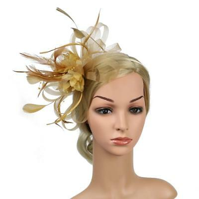 Chic Women Gold Mesh Bowknot Feather Headband Fascinator Wedding Royal Ascot