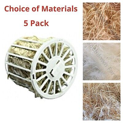 5 Pack Holders & Bird Nesting Material for Canary, Finch, Budgie Cage Birds