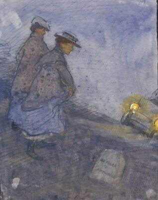 Ethel M. Mallinson, Hitchhiking at Night - Early 20th-century watercolour