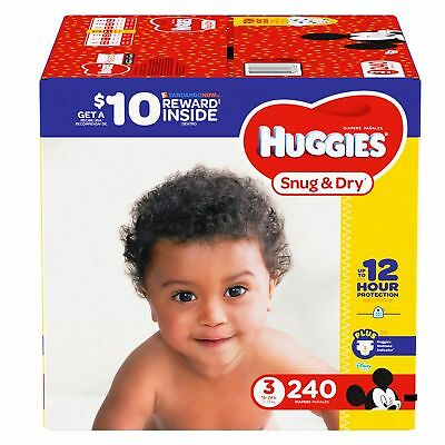 Huggies Snug & Dry Baby Diapers Size 3, 4, 5, 6. Fast Free Shipping.