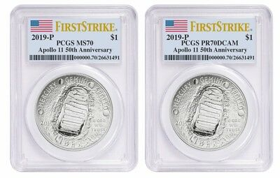 2019 P $1 Silver Apollo 11 50th Anniversary 2cn Set PCGS PR70/MS70 First Strike