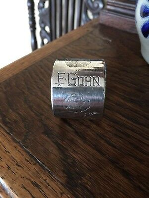 VINTAGE Antique SILVER PLATE NAPKIN RING Silverplate Engraved F.Gohn 1800s