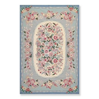 """5'6""""  x 8'6"""" Hand Woven Wool French Aubusson Needlepoint Area Rug Traditional"""