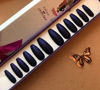 Hand Painted False Nails XL COFFIN or XL STILETTO long. Matte Cadbury Purple UK