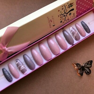 Hand Painted False Nails XL COFFIN or XL STILETTO long. Pink Nude Marble. UK