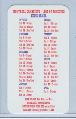 RETRO Montreal Canadiens 1966-67 NHL hockey schedule card 2018 Product