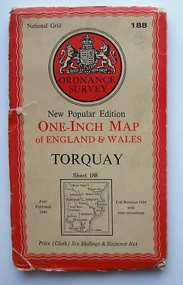 1946 old OS Ordnance Survey New Popular Edition One-inch map Torquay Sheet 188