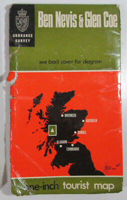 1967 old vintage OS Ordnance Survey one inch Tourist Map of Ben Nevis & Glen Coe