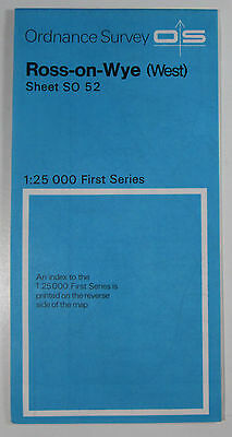 1972 old vintage OS Ordnance Survey 1:25000 First Series Map SO 52 Ross-on-Wye W