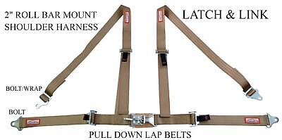 "Sandrail Four Point 2"" Racing Seat Belt Latch & Link Roll Bar Mount Saddle / Tan"