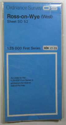 1972 old vintage OS Ordnance Survey 1:25000 First Series map SO 52 Ross-on-Wye