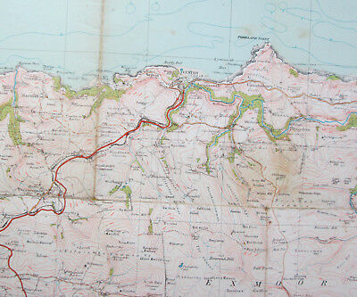 1931 Old Vintage OS Ordnance Survey Popular Edition One-Inch Map 119 Exmoor