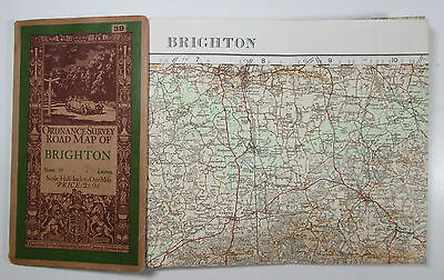 1928 old vintage OS Ordnance Survey half-inch map 39 Brighton - Layers