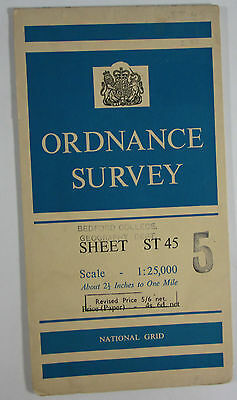 Old 1959 OS Ordnance Survey 1:25000 First Series Provisional Map ST 45 Cheddar