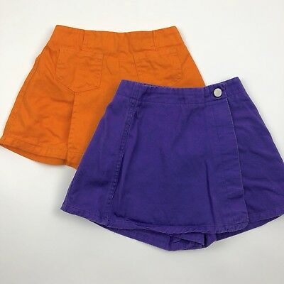 Vtg 90s Gitano Denim Skort Shorts Lot Of 2 Orange Purple Cotton Girls Size 4 5