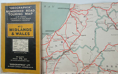1933 old vintage Geographia Numbered Road Touring Map no. 3 Midlands and Wales