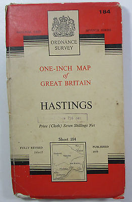 1959 vintage OS Ordnance Survey one-inch seventh Series CLOTH Map 184 Hastings