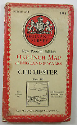1947 OS Ordnance Survey New Popular 6th Ed one-inch CLOTH map 181 Chichester