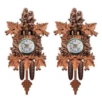2pcs Mute Movement Cuckoo Wall Clock Large Size for House Decoration