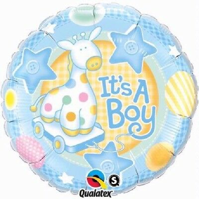 Its A Boy Baby Dusche Blau Giraffe Sterne 45.7cm Party Folien Ballon Qualatex