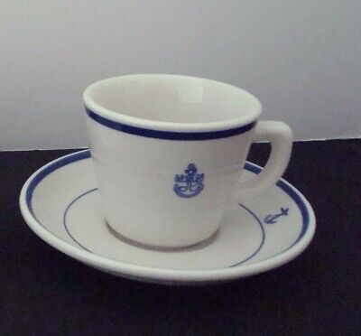 U. S. Navy Wardroom Mess Fouled Anchor Coffee Cup & Saucer - Jackson China