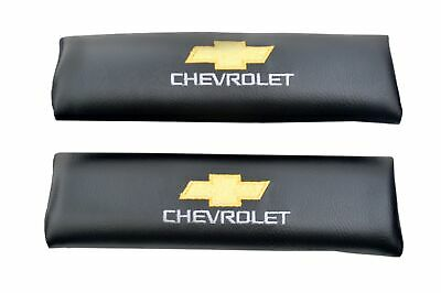 Chevrolet Seat Belt Shoulder Pads Black With Embroidery Easy To Install
