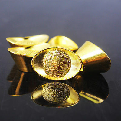 Chinese Gold Ingot Fengshui Lucky Yuanbao Ornament Decor For Fortune Wealth YH