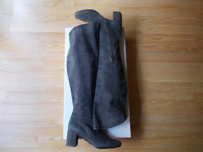 d6e8ec73613  695 Vince Blythe Over The Knee Boots Heels Pewter Grey Suede 39.5 US 9.5  10 NEW