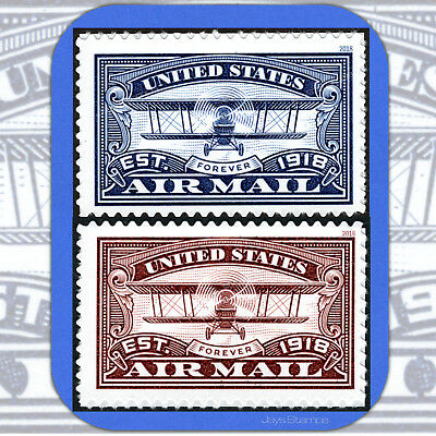 2018  AIR MAIL CENTENARY  Blue & Red  USPS Forever®  PAIR of Stamps  # 5281-82