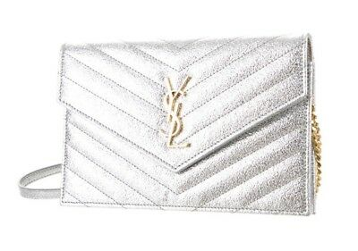 b62baf7cd6 Authentic Yves Saint Laurent (YSL) Monogram Silver Wallet on Chain Retail   1250
