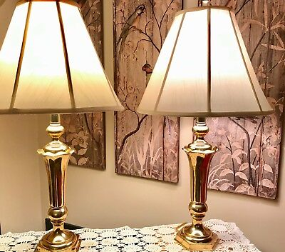 """Set Pair 2 32"""" Tall Vtg MCM Brass Table Lamp w/ Matching Finial Heavy Classic"""