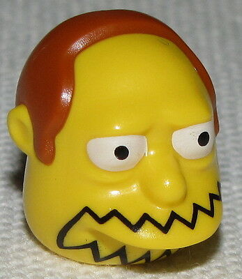 Lego New Yellow Minifig Head Modified Simpsons Martin Prince with Flesh Hair
