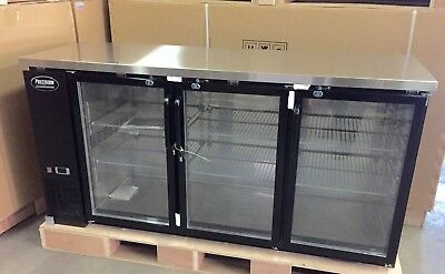 "NEW 3 DOOR BACK BAR REFRIGERATOR 72"" Underbar Beer GLASS 6' BOTTLE COOLER"