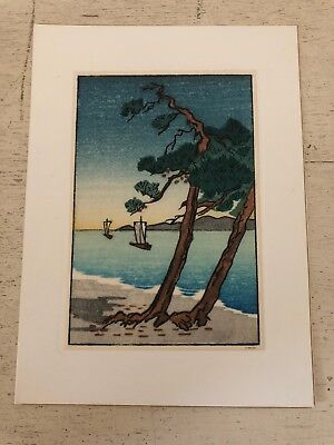 "Miniature Japanese Woodblock Print Vintage? Asian Art Ocean Beach 5"" X 3.75"""
