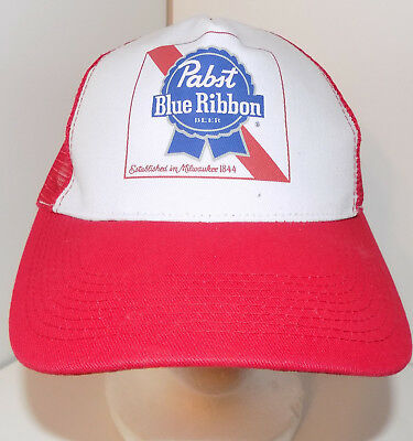 0a617685b7a Pabst Blue Ribbon Snapback Trucker Hat Cap Hipster Beer Brewery Alcohol PBR  Red
