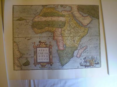 Unique Rare Vtg Reproduction Print Of Nice Antique Africa Map. 22,5 '' X 18 ''