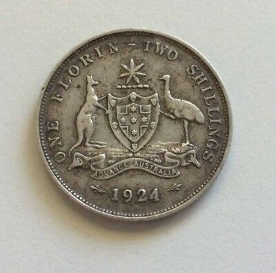 1924 Florin. Two shillings. 5 pearls . George V. .925 silver