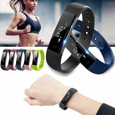 Bluetooth Smart Watch Fitness Activity Tracker Gym Sports Bracelet Android iOS