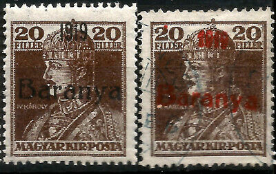 WWI Baranya Serbian Occupation Hungary 1919 Blessed Karl Unlisted Red Overprint