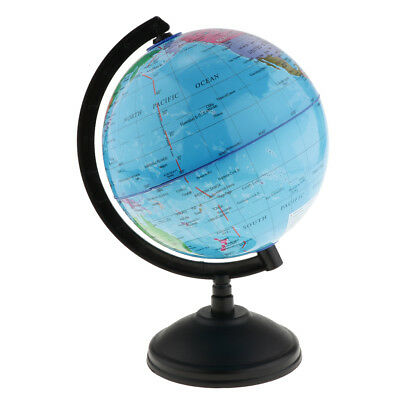 Rotating World Globe Earth Ocean Atlas Map Student Geography Learn Kit Blue