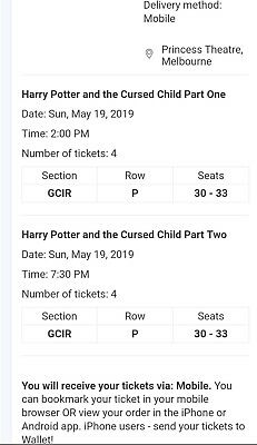 Harry Potter And The Cursed Child Play mobile tickets. Parts 1 & 2, Melbourne.