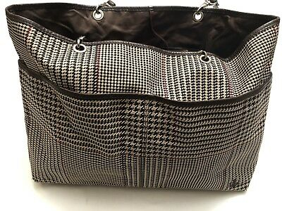 808a68702f RALPH LAUREN Signature Brown Houndstooth Plaid Leather Trimmed Tote Bag