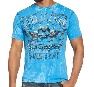 AFFLICTION Fortunate Son A8953 New Reversible Men`s T-shirt Blue