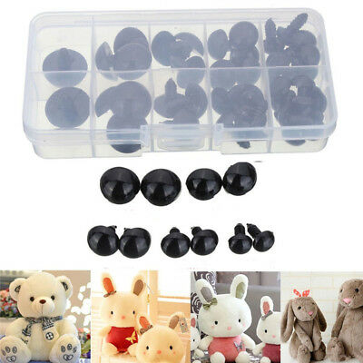 100Pcs 6-12mm Black Plastic Safety Eye Teddy Bear Doll Animal Puppet Toy Gasket