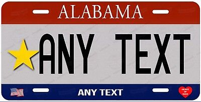 Custom Alabama Gold Personalized License Plate for Auto Bike Motorcycle ATV Gift