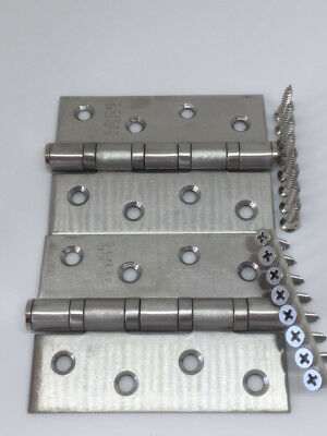 304 Grade Stainless Steel 100x75x3mm Gate Door BUTT Hinges+Screws Heavy Duty