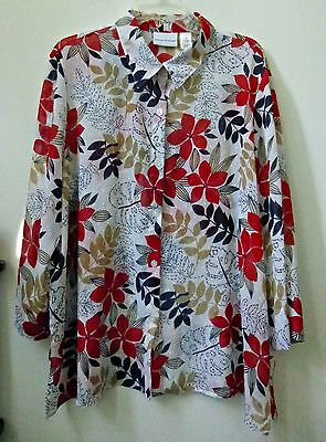 Alfred Dunner Blouse Top Plus Size 20 Long Sleeve Button Down Semi Sheer Work