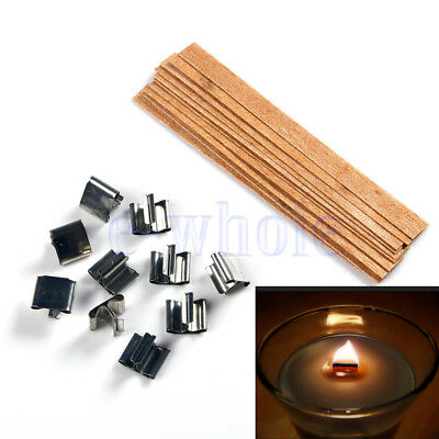10 X Wood Wooden Candles Core Wick Candle With Iron Stands 10mmX126mm GW