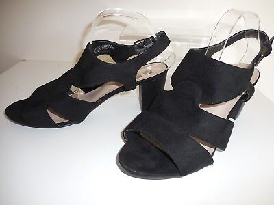 9355c084a198 Black Faux Suede Strappy Shoes  Sandals Size UK 10 EEE Wide Fit BNWT From  Evans