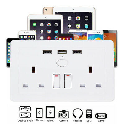 Double Wall Plug Socket 2 Gang 13A with 3 USB Charger Port Outlets White Plate